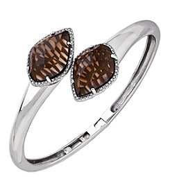 Smoky Quartz Bangle With 0.25 Ct. T.W. Diamond Accents