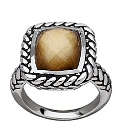 Sterling Silver Onyx With Gold Coating Ring