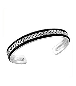 Effy® Men's 925 Sterling Silver Black Accent Bangle Bracelet
