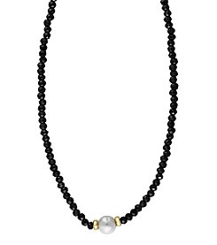 Effy® 14K Yellow Gold Cultured Freshwater Pearl and Black Spinel Necklace
