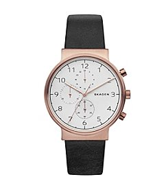 Skagen Men's 40mm Ancher Stainless Steel Chronograph with Plating and Leather Strap