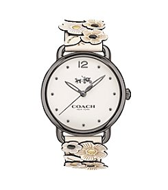 COACH Women's 36mm Delancey Leather Strap Watch With Floral Applique