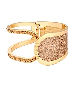 GUESS Glitter In Stone Hinged Openwork Bangle Bracelet