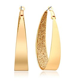 GUESS Goldtone Glitter Interior Hoop Earrings