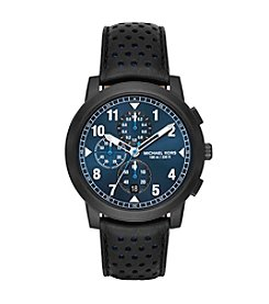 Michael Kors® Men's 44mm Paxton IP Chronograph Watch with Black Leather Strap