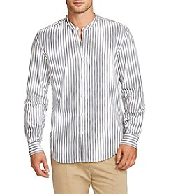 William Rast® Men's Long Sleeve Banded Collar Striped Shirt