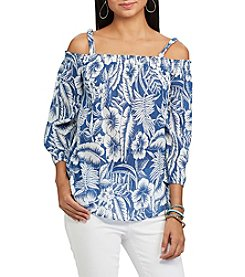 Chaps® Tropical-Print Off-The-Shoulder Top