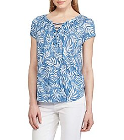 Chaps® Tropical-Print Lace-Up Top