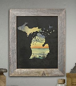 The Michigan Outfitter Sunset Birds Painting