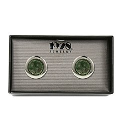 1928® Jewelry Silvertone Semi-Precious Green Jade Round Locket Cufflinks