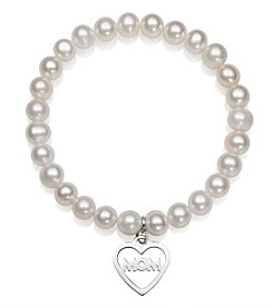 .925 Sterling Silver Cultured Freshwater Pearl Stretch Bracelet with Mom Charm