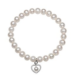 .925 Sterling Silver Cultured Freshwater Pearl Stretch Bracelet with Heart Shaped Charm