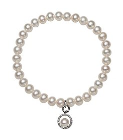 .925 Sterling Silver Cultured Freshwater Pearl Stretch Bracelet with Circle Charm