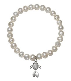 .925 Sterling Silver Cultured Freshwater Pearl Stretch Bracelet with Fish Charm
