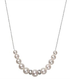.925 Sterling Silver Graduated Cultured Freshwater Pearl and Rondelle Necklace