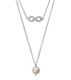 .925 Sterling Silver Multi-Row Necklace with Cubic Zirconia Infinity Charm