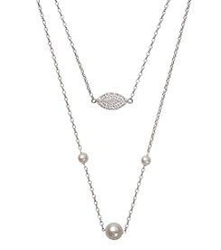 .925 Sterling Silver Multi-Row Necklace with Cubic Zirconia Charm and Cultured Freshwater Pearls