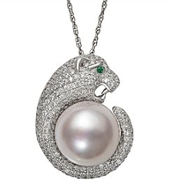 .925 Sterling Silver 12-13mm Cultured Freshwater Pearl and Cubic Zirconia Pendant Necklace