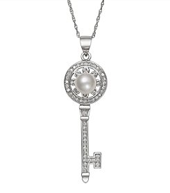 .925 Sterling Silver Cultured Freshwater Pearl and Cubic Zirconia Key Pendant Necklace
