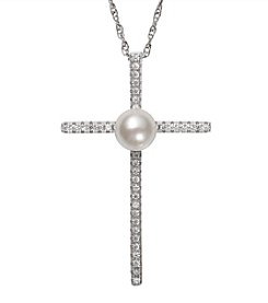 .925 Sterling Silver Cultured Freshwater Pearl and Cubic Zirconia Cross Pendant Necklace