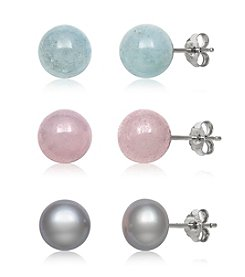.925 Sterling Silver Cultured Freshwater Pearl, Milky Aqua and Rose Quartz Stud Earrings Set