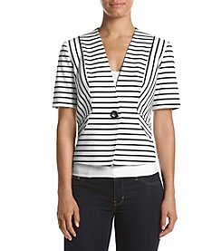 Nine West® Striped Short Sleeve Jacket