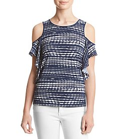 Kensie® Lane Stripe Cold Shoulder Top
