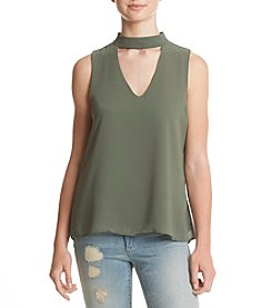 Sequin Hearts® Sleeveless Choker V Neck Top