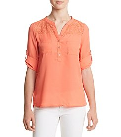 Sequin Hearts® Crochet Yoke Utility Shirt