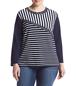 Alfred Dunner® Plus Size Spliced Stripe Sweater