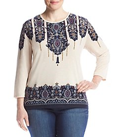 Alfred Dunner® Plus Size Print Yoke Sweater