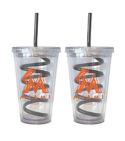 Boelter Brands MLB® Miami Marlins 2-Pack Swirl Straw Tumbler Glasses