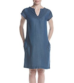 Joan Vass® Tie Neck Tencel Dress