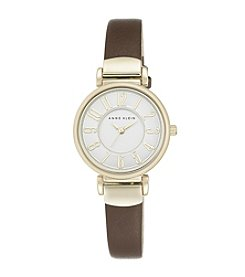 Anne Klein® Two-Tone Brown Leather Strap Watch