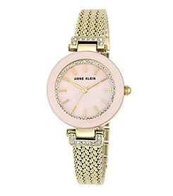 Anne Klein® Light Pink and Goldtone Crystal Watch