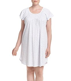 Miss Elaine® Plus Size Scroll Printed Nightgown