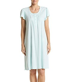 Miss Elaine® Ribbed Embroidered Nightgown