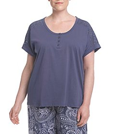 KN Karen Neuburger Plus Size Lace Sleeves Henley Top
