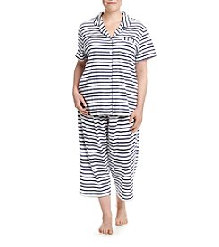 KN Karen Neuburger Plus Size Striped Pajama Set