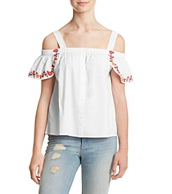 Hippie Laundry Embroidered Trim Off Shoulder Top