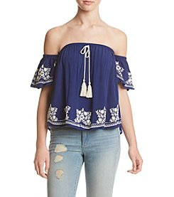 Living Doll® Off Shoulder Puff Print Top