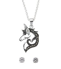 Marsala Unicorn Necklace And Stud Earrings Set