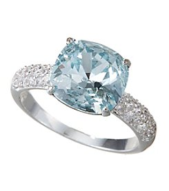 City x City Aquamarine Cushion Cut Crystal Ring