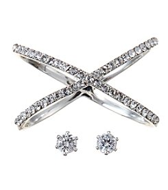 City x City Silvertone Crystal Crossover Ring and Earrings Set