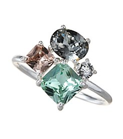 City x City Silvertone Trio Crystal Ring