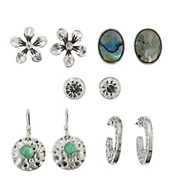 Studio Works® Stud, Hoop And Drop Five Pair Earrings Set