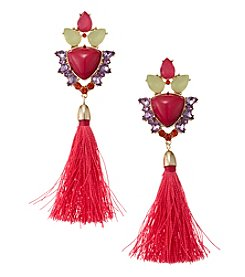 Relativity® Button Top With Pink Tassel Earrings