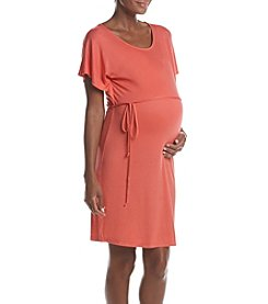 Three Seasons Maternity™ Flutter Sleeve Belted Dress