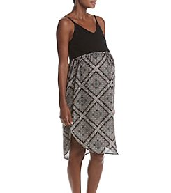 Three Seasons Maternity™ Geo Print Shirttail Hem Midi Dress
