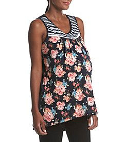 Three Seasons Maternity™ Mixed Pattern Crochet Trim Tank Top
